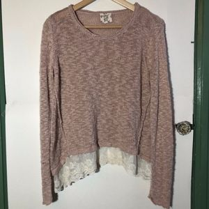 Light Baby Pink Woven Knit Lace Crewneck Sweater